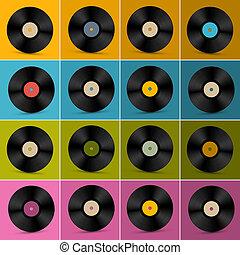 Retro, Vintage Vector Vinyl Record Disc Set on Colorful Background