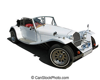 retro vintage white dream wedding luxury car isolated