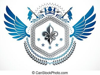 Retro vintage winged Insignia made with vector design elements and created using lily flower, monarch crown and stars