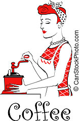 Retro or vintage woman grinding coffee with a coffee grinder in 1940s or 1950s line art advertising sign style.