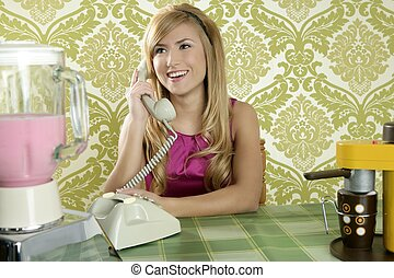 Retro vintage woman kitchen talking phone smiling