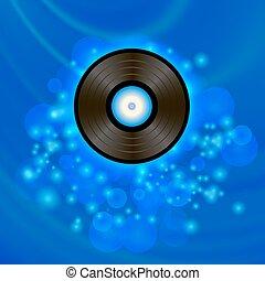 Retro Vinyl Disc on Blue Background