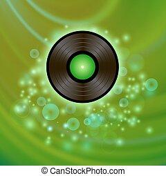 Retro Vinyl Disc on Green Background