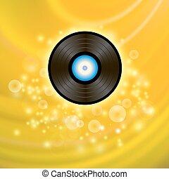 Retro Vinyl Disc on Yellow Background