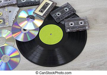 Retro, vinyl record disc, audio cassette and cd