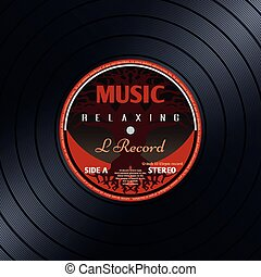 Retro vinyl record label music poster vector background....