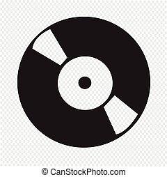 retro, vinylverslag, pictogram