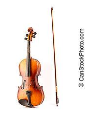 retro, violino, vindima, isolado, branco