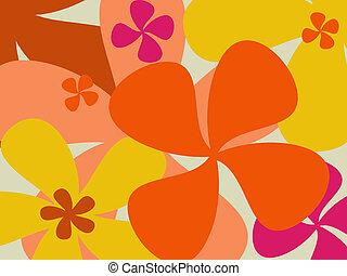 retro, virág, háttér