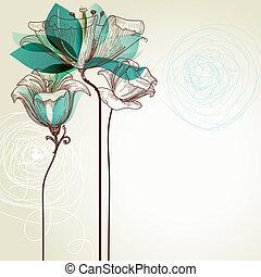 retro, virágos, háttér