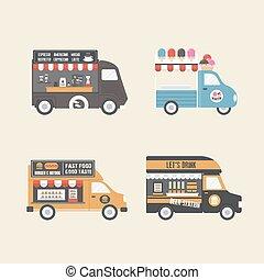 retro, voedingsmiddelen, vrachtwagen
