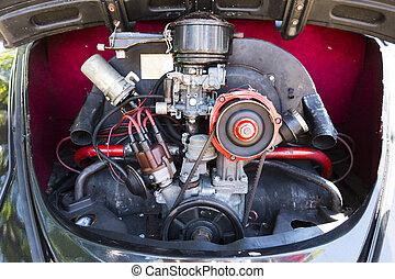 retro, vogn motor, blokken