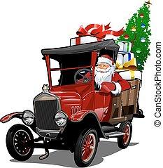 retro, vrachtwagen, kerstmis, spotprent