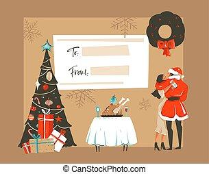 retro, vrolijke , kaart, het koesteren, vrijstaand, onder, vector, spotprent, hand, nieuw, ambacht, jaar, tijd, kerstmis, kussende , romantische, tafel, illustraties, getrokken, paar, maretak, boompje, achtergrond, diner