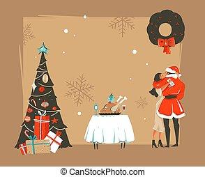 retro, vrolijke , kaart, het koesteren, vrijstaand, onder, vector, spotprent, hand, nieuw, ambacht, jaar, tijd, kussende , romantische, tafel, illustraties, getrokken, paar, maretak, abstract, boompje, achtergrond, diner