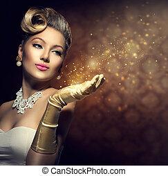retro, vrouw, met, magisch, in, haar, hand., ouderwetse , stijl, dame
