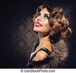 retro, vrouw, portrait., ouderwetse , gestyleerd, foto
