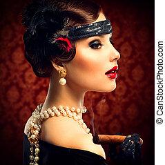 retro, vrouw, portrait., ouderwetse , gestyleerd, meisje, met, sigaar