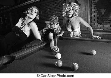 retro, vrouwtjes, schietende , billiards.