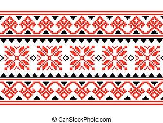 retro, vyshyvanka, belarusian, punto de cruz, ucranio, seamless, gente, -, arte, patrón, inpired, largo, vector, ornamento