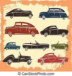 retro, wóz, wzory, rocznik wina, styl, zbiór