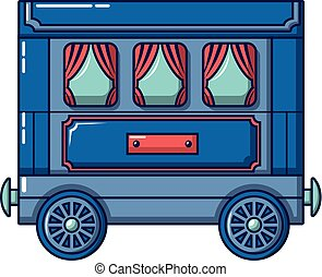 Retro wagon icon, cartoon style
