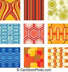 Retro wallpaper - A vector illustration of a set of retro ...