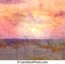 retro watercolor sunset at sea - the wonderful bright...