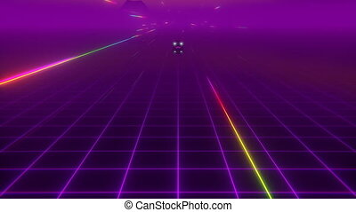 Retro Wave Dream - Retro-futuristic car 80's style driving