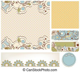 Retro wedding backgrounds floral and dots patterns