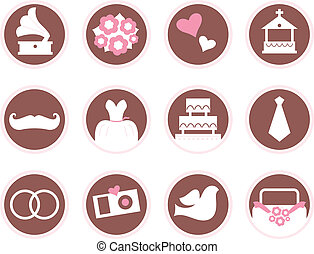 Retro wedding design elements and icons isolated on white