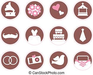 Retro wedding design elements and icons isolated on white -...