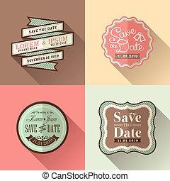 Retro Wedding frame flat design icon set for tag label sticker badge