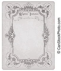 Retro Wedding Invitation postcard with beautiful frame - for design and scrapbook