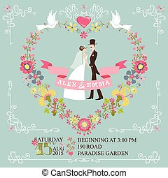 Retro wedding invitation.Bride, groom,floral wreath,borders...