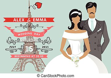 Retro Wedding invitation.Flat bride,groom,Eiffel tower