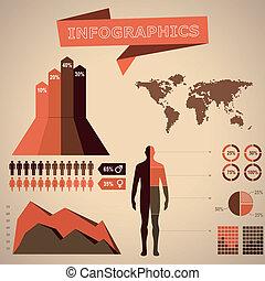 retro, /, weinlese, infographic