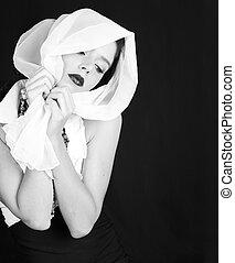 retro, weinlese, stil, frau, in, schwarz weiß