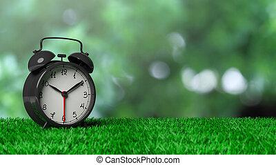 retro, wekker, op, gras, met, abstract, groene, bokeh, achtergrond