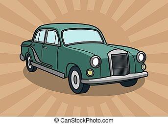 retro, wektor, wóz