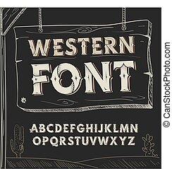 Retro western font. Vector alphabet on dark background