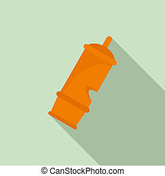 Retro whistle icon, flat style