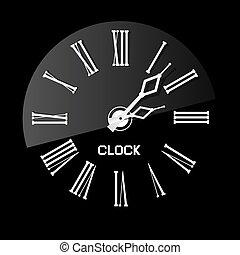 Retro White Abstract Clock Illustration on Black Background