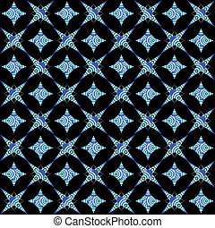 retro white and blue seamless pattern on black background