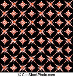retro white and red seamless pattern on black background