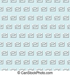 Retro white envelope, mail icon on pale blue, turquoise background, seamless pattern. Paper cut style