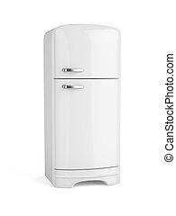 Retro white fridge refrigerator isolated