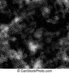 Retro white halftone ink print, seamless pattern on black background
