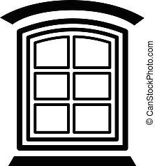 Retro window frame icon, simple black style