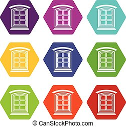 Retro window frame icons set 9 vector